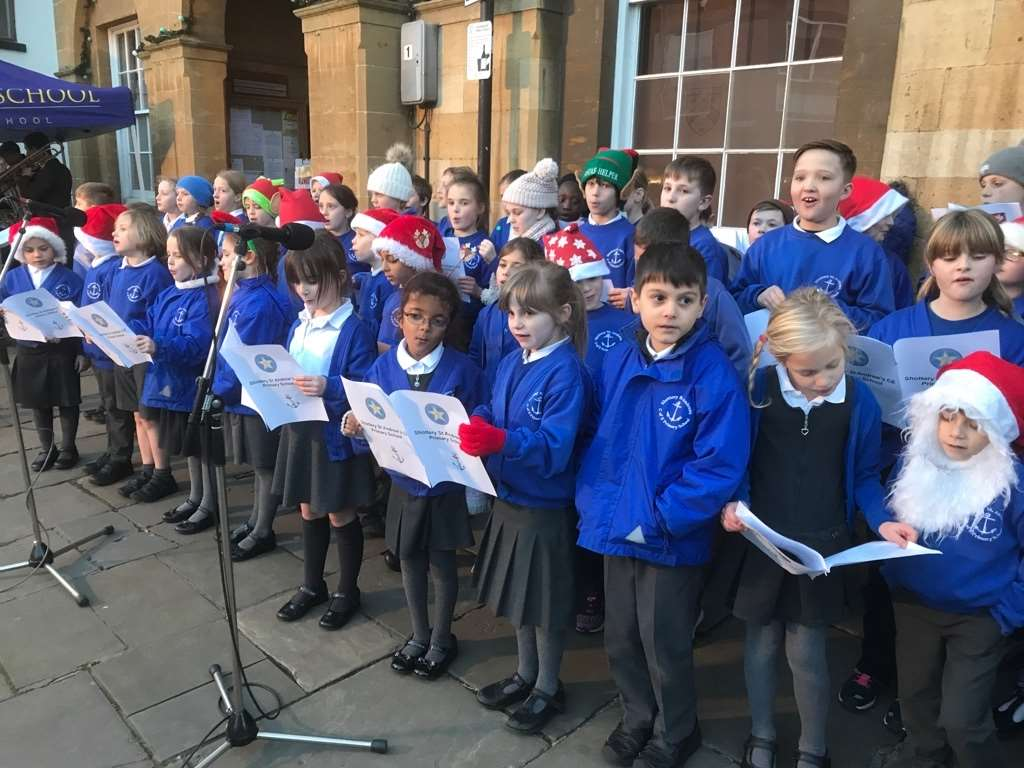 Shottery St Andrews School choir sang at the Stratford Christmas lights switch-on on Thursday.