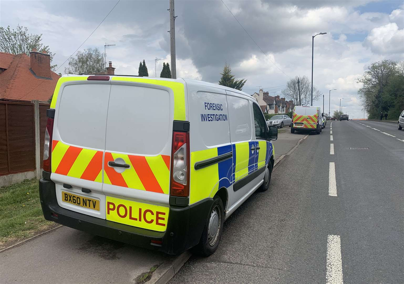 Police at the incident scene on Alcester Road. Photo: Mark Williamson