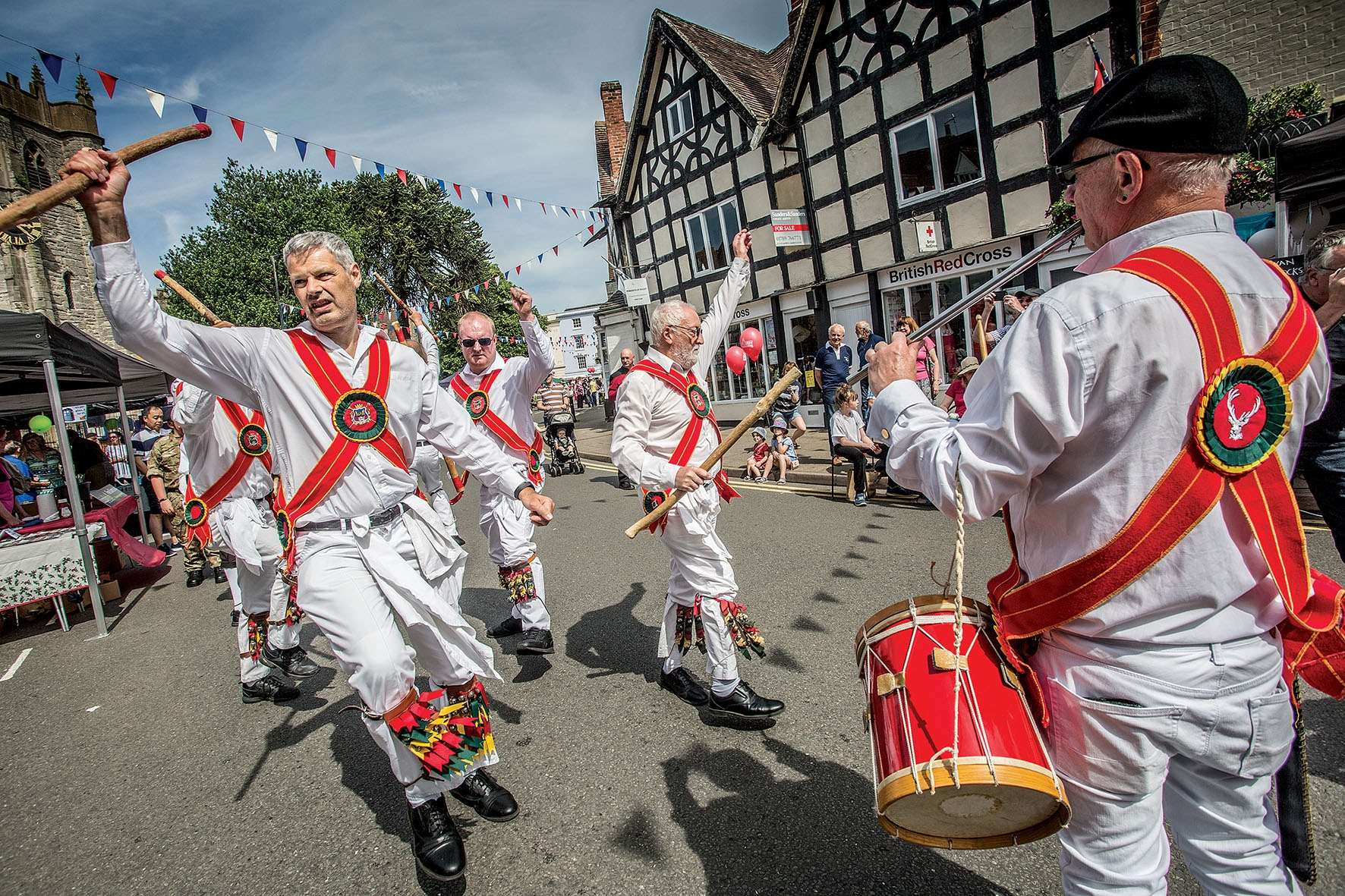 The White Hart Morris men performing at Alcester Street Market. Photo: Mark Williamson
