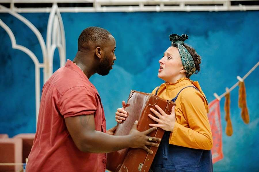 Ray Sesay and Eloise Secker as Bassanio and Gobbo. Photo: Sam Allard