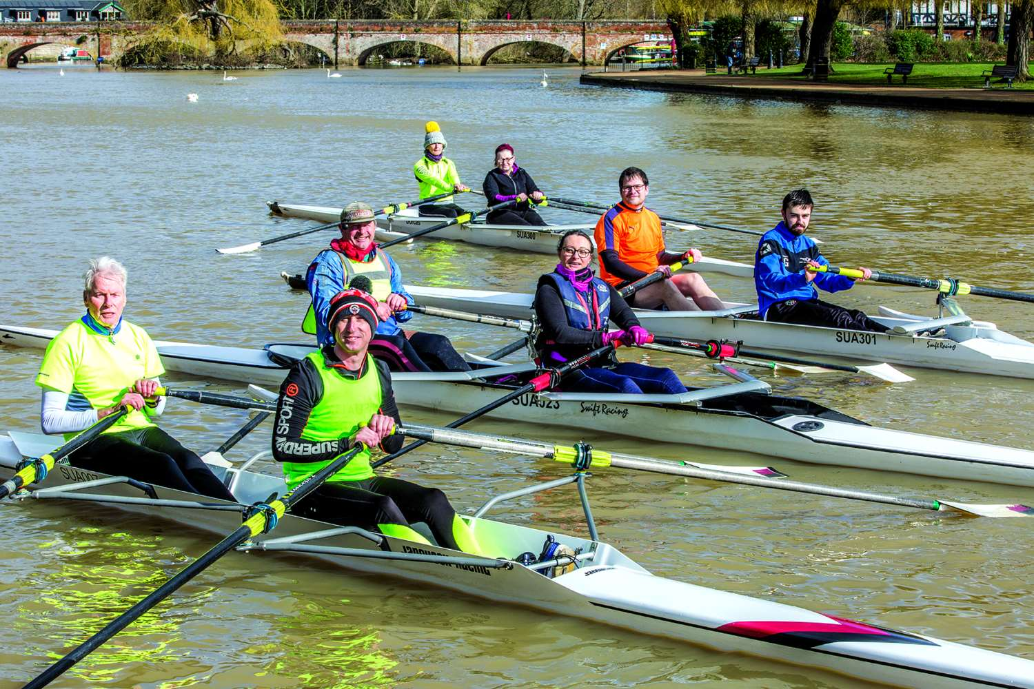 Adaptive rowers and their coaches on the Avon in Stratford. Photo: Mark WilliamsonS33/2/20/9751