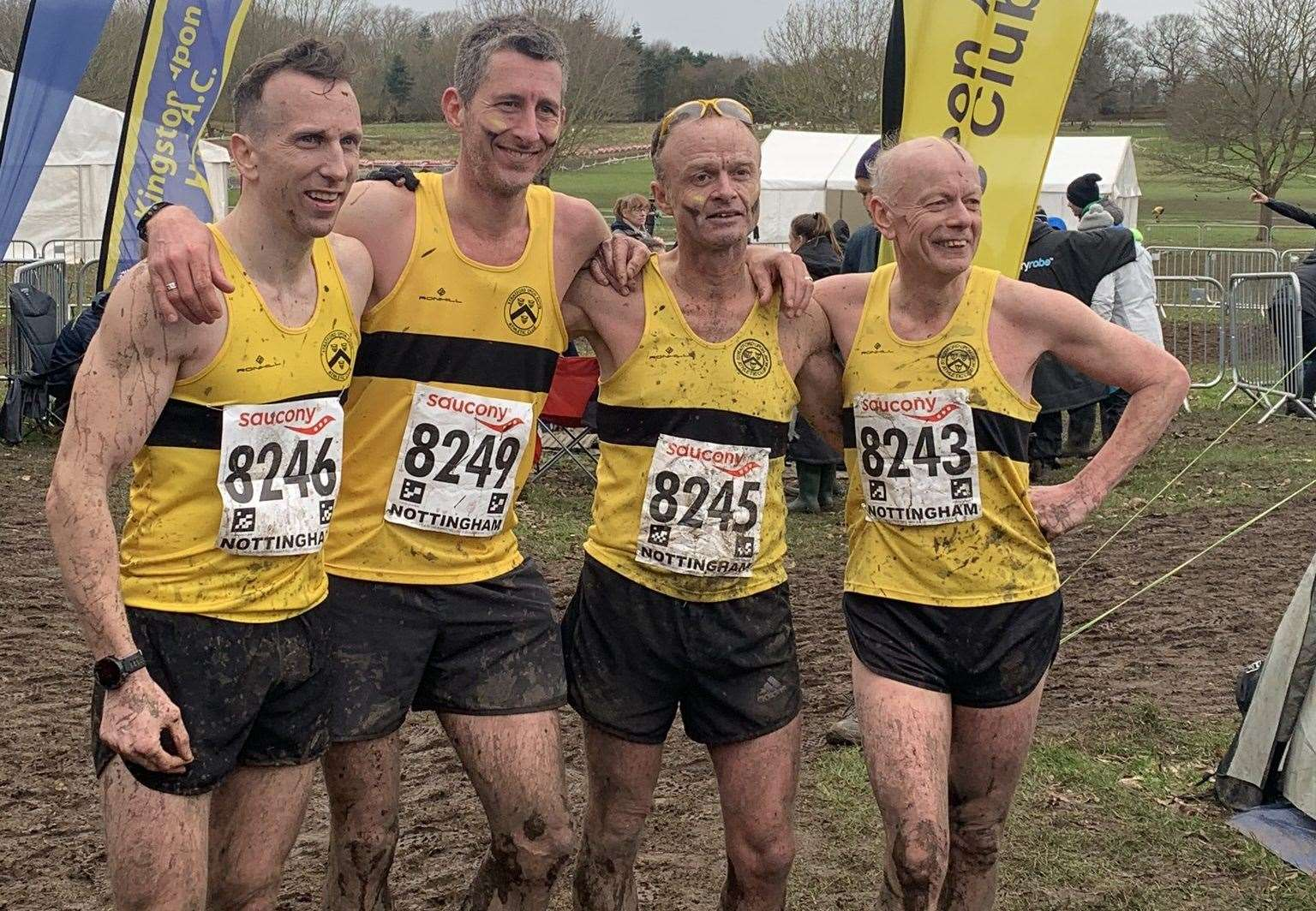 The senior mens team of John Ray, Seth Turner, Tim Hutchinson and Malcolm Bowyer.