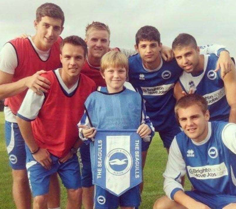 Lewis Dunk, top left, pictured in 2011 with Stratford Town Academy manager Ryan Simmonds, bottom left.