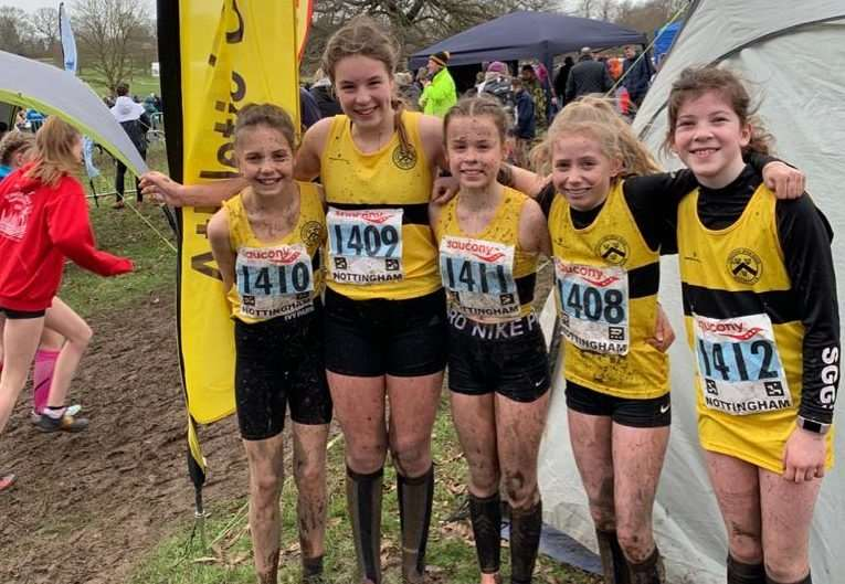 Niamh Hillard, Tilly Campbell, Maddie Linfoot, Caitlin Boyle and Charlotte Skinner of the U13G team.