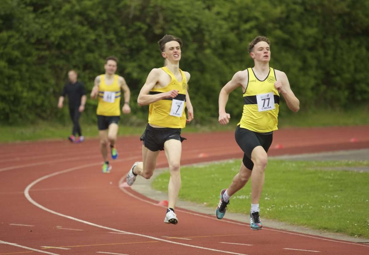 Stratford AC's Oscar Barbour and Fergus Allison in the 1500m at Leamington.