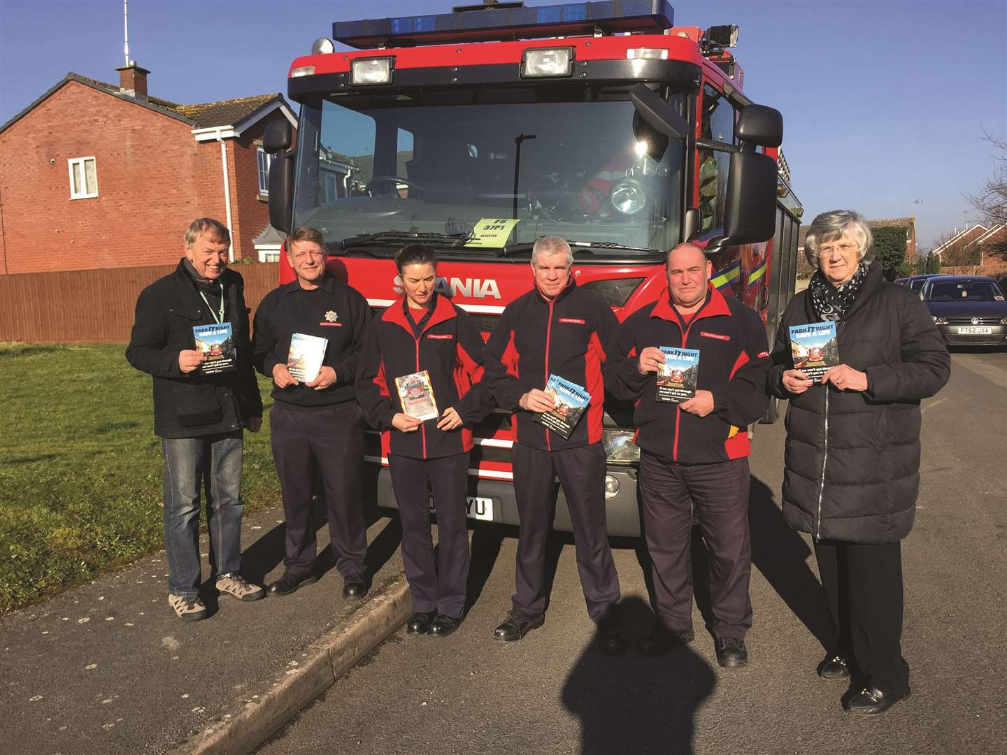 Park it Right Campaign: From left, Cllr Mark Cargill, with Warwickshire Fire and Rescue Service fire fighters, Adrian Young, Donna McGettigan, Peter Vale, crew commander Brian Crow and Cllr Susan Adams pictured in Alcester.Photo submitted