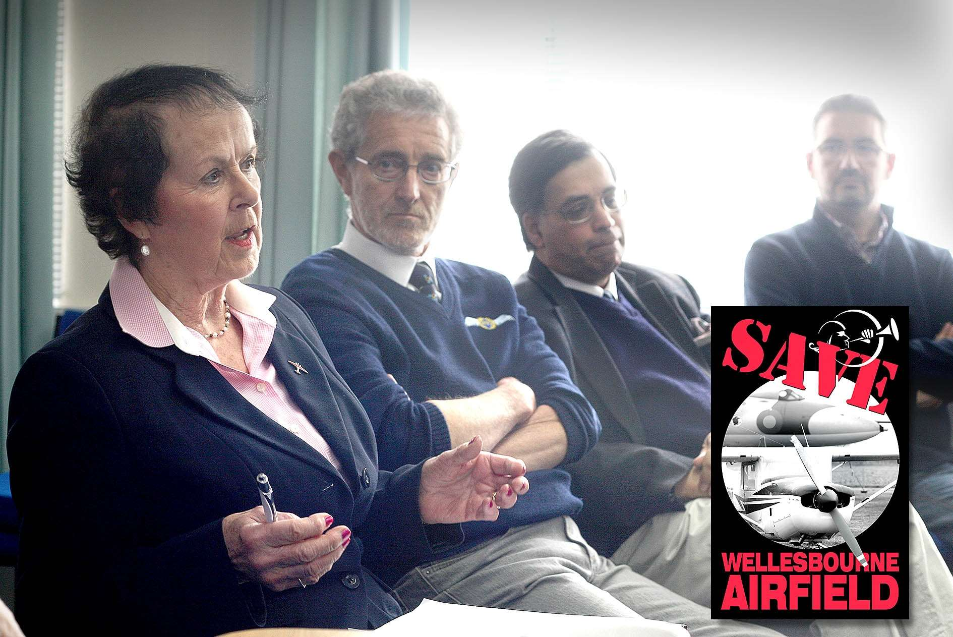 Wellesbourne Airfield business owners and staff gave their views at the press conference this morning. Photo: Mark Williamson