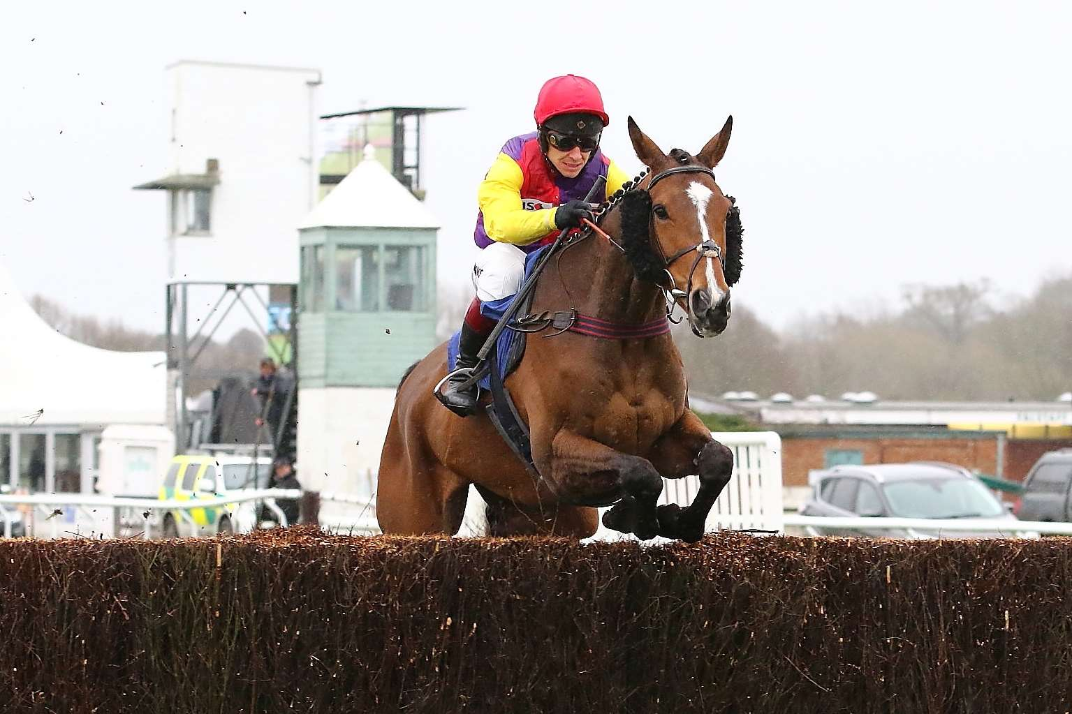 Tidal Flow jumps the first in the Read The aidan-coleman.com Blog Novices' Chase at Stratford's season opener. Photo: David Pratt / dwprattracingphotography